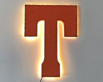 """On Sale! 21"""" Letter T Backlit Metal Sign - Plugin or Battery Operated - Rustic Marquee Vintage Style Cutout Light Up"""