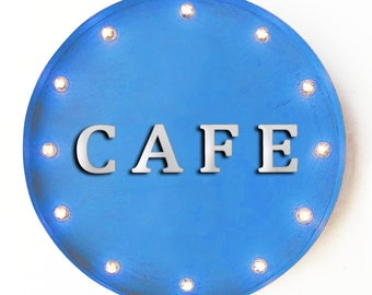 """On Sale! 20"""" CAFE Round Metal Sign - Plugin, Battery or Solar - Restaurant Diner Eatery Food Eat Here - Rustic Vintage Marquee Light Up Sign"""