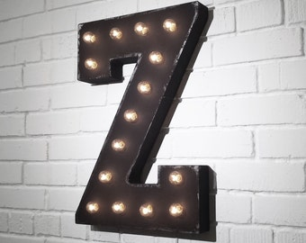 """On Sale! 21"""" Letter Z Metal Sign - Plugin - Rustic Vintage Style Custom Marquee Light Up Alphabet Letters"""