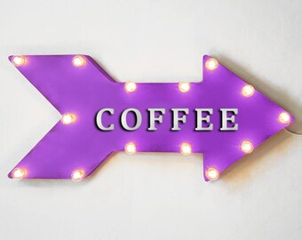 "On Sale! 24"" COFFEE Straight Metal Arrow Sign - Cafe Bakery Espresso Drinks Morning - Rustic Vintage Marquee Light Up"