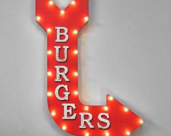 "On Sale! 36"" BURGERS Metal Arrow Sign - Plugin or Battery Operated - Burger Beef Fries Hamburger Malt Shop Menu - Rustic Marquee Light up"