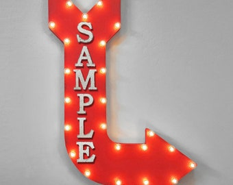 """On Sale! 36"""" CUSTOM Metal Arrow Sign - Personalized Word - Double Sided Hang or Suspend - Rustic Marquee Light Up"""