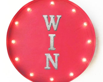 "On Sale! 20"" WIN Round Metal Sign - Plugin or Battery Operated - Winner Lucky Best - Rustic Vintage Marquee Light Up"