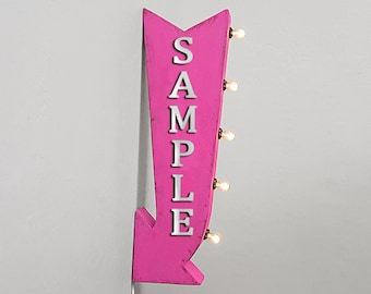 """On Sale! 25"""" NAILS Metal Arrow Sign - Plugin or Battery Operated - Salon Hair Apparel Makeup Color - Double Sided Rustic Marquee Light Up"""
