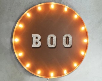 """On Sale! 30"""" BOO Round Metal Sign - Plugin or Battery Operated - Haunted House Halloween Ghost - Rustic Vintage Marquee Light Up"""