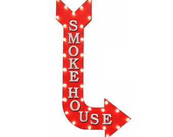 """On Sale! 48"""" SMOKE HOUSE Metal Arrow Sign - Smokey Bbq Meats Restaurant Food Eat - Vintage Rustic Curved Marquee Light Up"""