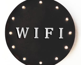 """On Sale! 20"""" WIFI Round Metal Sign - Plugin, Battery or Solar - Internet Service Computer Laptop - Rustic Vintage Marquee Light Up Sign"""