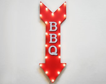 "On Sale! 36"" BBQ Metal Arrow Sign - Plugin or Battery Operated Led - Eatery Bar Cafe Barbecue Restaurant Diner - Rustic Marquee Light Up"