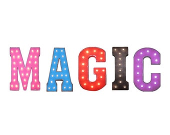 """On Sale! 21"""" MAGIC Metal Sign - Show Performance - Free Stand or Hang - Rustic Vintage Style Marquee Light Up Letters"""