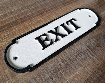 On Sale! - Large Solid Cast Iron EXIT Sign Metal Vintage Antique Style Entry Door Sign Plaque