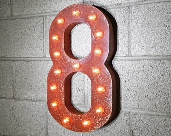 ON SALE! Plug-In Number 8 Eight. 14 Color Options! Rustic Metal Marquee Light Up Sign. We have ALL the numbers 0 1 2 3 4 5 6 7 8 9