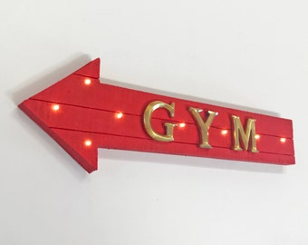 """ON SALE! 21"""" GYM Wood Battery Operated led Rustic Wooden Open Entrance Health Fitness Workout Club Arrow Marquee Light Up Sign"""