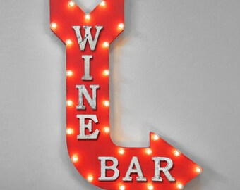 """ON SALE! 36"""" Wine Bar Plug-In or Battery Operated led WINEBAR Red Vineyard Red Wine Tasting Light Up Large Rustic Metal Marquee Sign Arrow"""