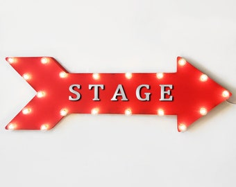 "On Sale! 36"" STAGE Metal Arrow Sign - Plugin or Battery Operated Led - Show Broadway Backstage Performers Theater - Rustic Marquee Light Up"
