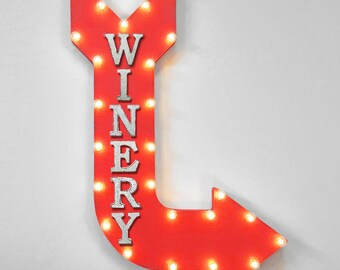 """On Sale! 36"""" WINERY Metal Arrow Sign - Plugin or Battery Operated - Wine Tasting Glass Red Vineyard - Rustic Marquee Light up"""