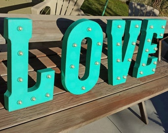 ON SALE! LOVE Battery Operated. Free Standing or Hang Hooks. Large Rustic Metal Vintage Style Marquee Light Up Sign. Batteries Included