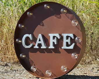 "On Sale! 20"" CAFE Round Metal Sign - Plugin or Battery Operated - Restaurant Diner Eatery Food Eat - Rustic Vintage Marquee Light Up"