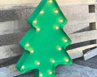 """ON SALE 24"""" Large Battery Operated or Solar LED Christmas Tree Trees Happy Holidays Rustic Metal Marquee Light Up Sign Vintage Cookie Cutter"""