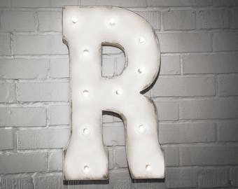 ON SALE! Letter R. Battery Operated. Choose Rustic or Non-Rustic. 24 Colors. Vintage Style Marquee LED Sign Light. Batteries Included!