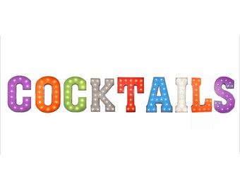 "On Sale! 21"" COCKTAILS Metal Sign - Drinks Pub Bar Tavern Happy Hour Free Standing or Hang - Rustic Vintage Style Marquee Light Up Letters"
