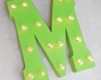 """On Sale! 21"""" Letter M Metal Sign - Battery Operated - Rustic or Non-Rustic - Custom Vintage Style Marquee Steel LED Light Up"""