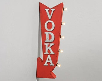 """On Sale! 25"""" VODKA Metal Arrow Sign - Plugin or Battery Operated - Alcohol Gin Martini Drinks Bar - Double Sided Rustic Marquee Light Up"""