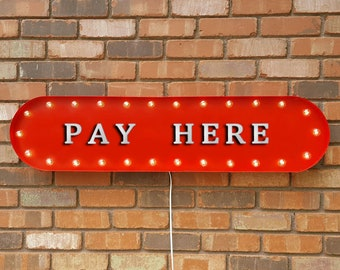 """On Sale! 39"""" PAY HERE For Sale Cashier Payments Taken Vintage Style Rustic Metal Marquee Light Up Sign"""