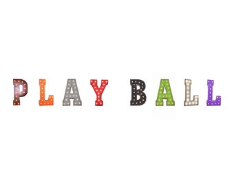"On Sale! 21"" PLAY BALL Metal Sign - Baseball Softball Team Game Free Stand or Hang - Rustic Vintage Style Marquee Light Up Letters"