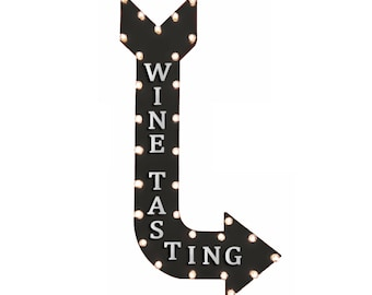 "On Sale! 48"" WINE TASTING Metal Arrow Sign - Sip Bar Vineyard Red White Blush Cheers - Vintage Rustic Curved Marquee Light Up"