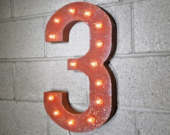 ON SALE! Plug-In Number 3 Three. 14 Color Options! Rustic Metal Marquee Light Up Sign. We have ALL the numbers 0 1 2 3 4 5 6 7 8 9