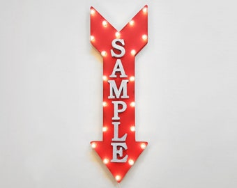 "On Sale! 36"" CUSTOM Metal Arrow Sign - Plugin or Battery Operated - Your Name Here Personalized - Rustic Marquee Light Up"
