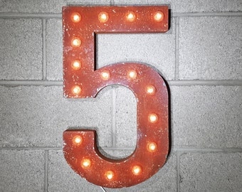 """On Sale! 21"""" 5 Metal Sign - Number 5 Five Cinco 0 1 2 3 4 5 6 7 8 9 Free Standing or Hang - Rustic Vintage Marquee LED Light Up"""