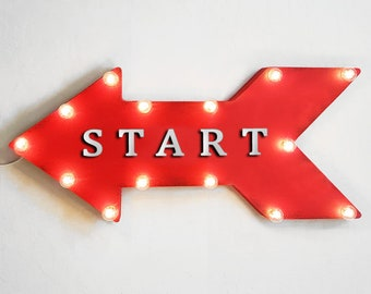 """On Sale! 24"""" START Straight Arrow Sign - Finish Line Here Begin Done Race - Rustic Vintage Marquee Light Up"""