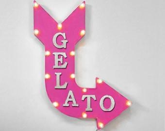 "On Sale! 24"" GELATO Curved Metal Arrow Sign - Italian Ice Cream Sweets Dessert Food Eat - Rustic Vintage Marquee Light Up"