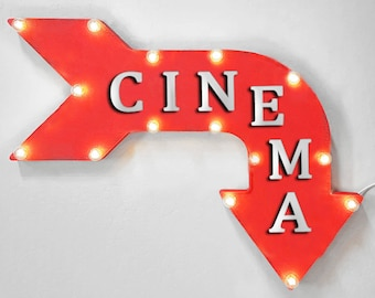 """On Sale! 24"""" CINEMA Curved Metal Arrow Sign - Movie Movies Theater Film Room - Plugin, Battery or Solar - Rustic Vintage Light Up Marquee"""
