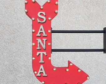 """On Sale! 36"""" SANTA Metal Arrow Sign - Claus Merry Christmas Happy Holidays - Double Sided Hang or Suspend - Rustic Marquee Light Up"""