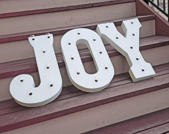 """ON SALE! 21"""" JOY Battery Operated Marquee Letter Letters Holiday Noel Santa Festive Vintage Style Rustic Christmas Light Up Sign - 23 Colors"""