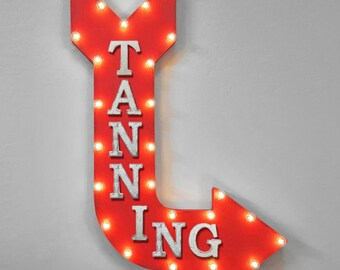 """On Sale! 36"""" TANNING Metal Arrow Sign - Plugin or Battery Operated - Tan Lotion Bed Bronzer Fake & Bake Booth - Rustic Marquee Light up"""