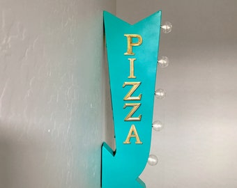 """ON SALE! 25"""" PIZZA Parlor Food Pizzeria Pasta Plug-In or Battery Operated Rustic led Double Sided Rustic Metal Arrow Marquee Light Up Sign"""