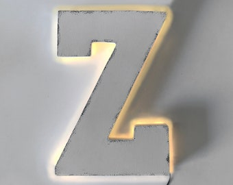 "On Sale! 21"" Letter Z Backlit Metal Sign - Plugin or Battery Operated - Rustic Marquee Vintage Style Cutout Light Up"