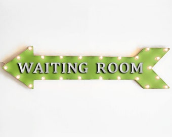 "On SALE! 48"" WAITING ROOM Metal Arrow Sign - Lobby Salon WaitingRoom Office Doctor - Plugin or Battery Operated led Rustic Light Up Marquee"