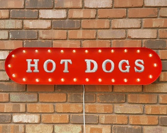 """On Sale! 39"""" HOT DOGS Metal Oval Sign - Hotdogs Bbq Food Eat Buns Outdoors Hotdog dog - Vintage Style Rustic Marquee Light Up"""
