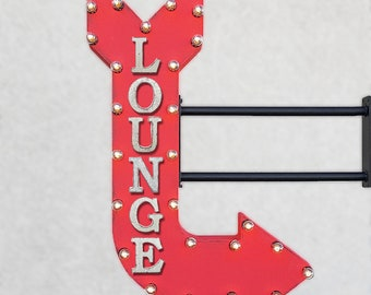 """ON SALE! 36"""" LOUNGE Lobby Waiting Room Area Sitting Motel Hotel PlugIn Double Sided Light Up Large Rustic Metal Marquee Sign Arrow"""