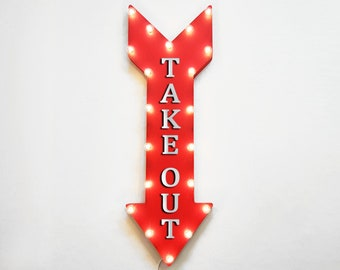 """On Sale! 36"""" TAKE OUT Metal Arrow Sign - Plugin, Battery or Solar - Pick Up Only Here To Go Order Here - Rustic Marquee Light Up Sign"""