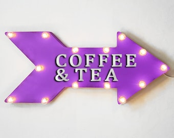"""On Sale! 24"""" COFFEE & TEA Straight Metal Arrow Sign - Cafe Bakery Espresso Drinks Morning - Rustic Vintage Marquee Light Up"""