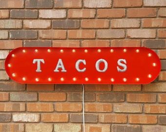 """On Sale! 39"""" TACOS Metal Oval Sign - Food Mexican Spanish Taco Tuesday - Vintage Style Rustic Marquee Light Up"""