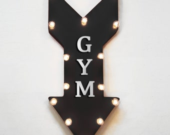"On Sale! 24"" GYM Straight Metal Arrow Sign - Open Welcome Workout Lift Weights Fitness Physical Yoga - Rustic Vintage Marquee Light Up"