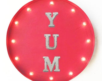 "On Sale! 20"" YUM Round Metal Sign - Plugin or Battery Operated - Yummy Delicious Amazing Food Cafe - Rustic Vintage Marquee Light Up"