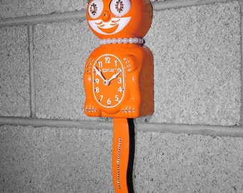 Limited Edition! Official PUMPKIN ORANGE Kit Cat Clock - Lady Girl Female - Jeweled Swarovski Crystals Kit Kat Cat Clock Klock