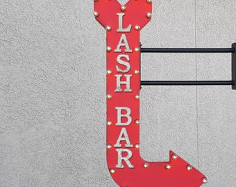 "On Sale! 48"" LASH BAR Metal Arrow Sign - Lounge Beauty Parlor Salon Blow Cosmetic - Double Sided Hang or Suspend - Rustic Marquee Light Up"